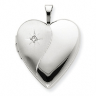 14K 20mm White Gold Polished Satin w/ Diamond Heart Locket