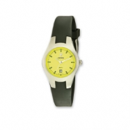 Croton Ladies Quartz Black Silicone Band Yellow Dial Sport Watch ring