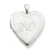 14K 20mm White Gold Mom w/ Hearts Heart Locket
