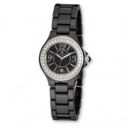 Ladies Charles Hubert Black Ceramic Crystal Bezel Watch