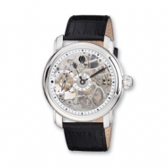 Mens Charles Hubert Leather Band Skeleton Dial Watch ring