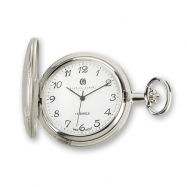 Charles Hubert Chrome Finish Brass Basketweave Pocket Watch