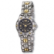 Ladies Charles Hubert Stainless & 18k 0.08ct. Dia. Black Dial Watch
