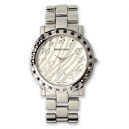 Ladies Simon Chang IP-plated CZ Bezel Zebra Pattern Dial Watch