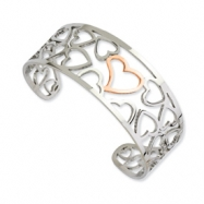 Stainless Steel Polished & Chocolate-plated Hearts Cuff Bangle