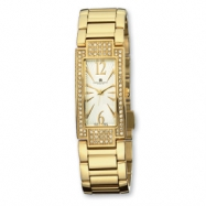 Ladies Charles Hubert Gold-pltd Crystal Bezel Wht Dial 21x46mm Watch