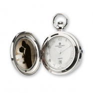 Charles Hubert Chrome Finish Brass Photo Insert Pocket Watch