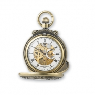 Charles Hubert Antique Gold Finish Skeleton Pocket Watch