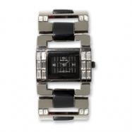 Ladies Simon Chang IP-plated Baguette CZ Accents Black Dial Watch