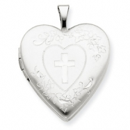 14K 20mm White Gold Cross w/ Diamond Cut Heart Locket