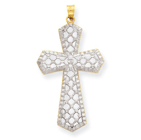 14k & Rhodium Diamond-cut Fancy Cross Pendant