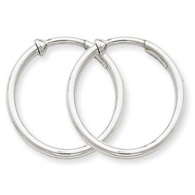 14k White Gold Non-pierced Earring Hoops Earrings