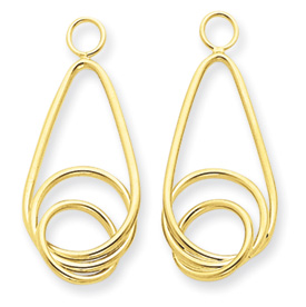 14k Polished Fancy Teardrop Earring Jackets
