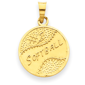 14k #1 Softball Disc Pendant