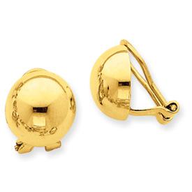 14k Non-pierced Half Ball Omega Back Earrings