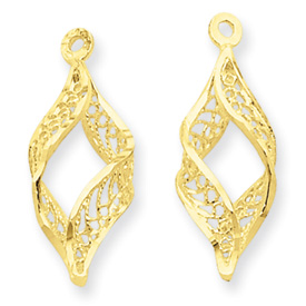 14k Polished Filigree Swirl Earring Jackets