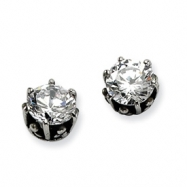Stainless Steel Antiqued Round CZ Post Earrings