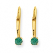 14k 3mm Genuine Emerald (May) Leverback Earrings