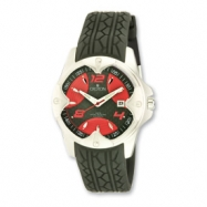 Croton Mens Sport Automatic Black Silicon Band Red Dial Watch ring
