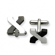Stainless Steel Black-plating and Poilshed Cuff Links