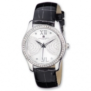 Ladies Charles Hubert Stainless Steel Silver Dial Black Leather Watch
