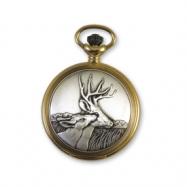 JD Manoir Two-tone White Dial Quartz Deer Pocket Watch