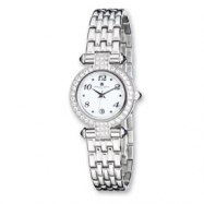 Ladies Charles Hubert Crystal Bezel White Dial Watch