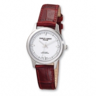 Ladies Charles Hubert Brown Leather Band White Dial Watch ring