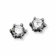 Stainless Steel Antiqued CZ Post Earrings
