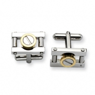 Stainless Steel w/ Gold IPG Cuff Links