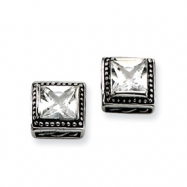 Stainless Steel Antiqued Square CZ Post Earrings