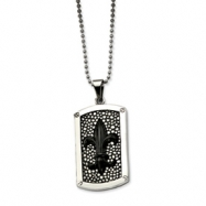 Stainless Steel Black IP Plated Fleur de lis Dog Tag Pendant chain