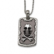 Stainless Steel Skull & Crossbones IP Black Plated Dog Tag Pendant 24 in. N chain