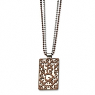 Stainless Steel Fancy Swirls Chocolate Plated 24in Double Chain Necklace chain