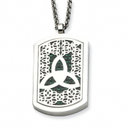 Stainless Steel Trinity Symbol & Fleur de lis Reversable Dog Tag 22in Neckl chain