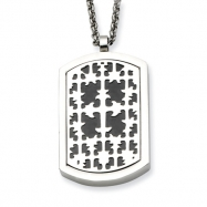 Stainless Steel Cross & Chocolate-plated Trinity Symbol Reversable Dog Tag chain