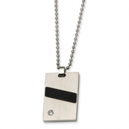 Stainless Steel Black Rubber and CZ Pendant 22in Necklace chain