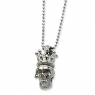 Stainless Steel Skull with Crown Pendant 22in Necklace chain