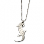 Stainless Steel Lizard w/ CZ 22in Necklace chain