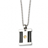 Stainless Steel IPG 24k & IP Black Plating Square Pendant Necklace chain