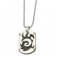 Stainless Steel Satin & Black-plated Swirl Dog Tag Pendant 24in Necklace chain