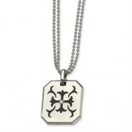 Stainless Steel Fancy Scroll w/ Black Rubber & CZ 22in Necklace chain