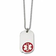 Stainless Steel Red Enamel Small Dog Tag Medical Pendant 22in Necklace chain