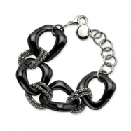 Stainless Steel Black Ceramic and Stainless Link Bracelet