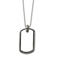 Stainless Steel Twisted Rope Edge Dog Tag Pendant  24 in. Necklace chain