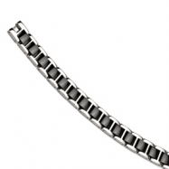 Stainless Steel Black Ceramic Polished 8in Bracelet