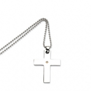 Stainless Steel 14k Gold w/ Diamond Cross Pendant 22in Necklace chain