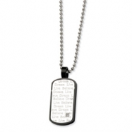 Stainless Steel Black PVD w/ CZ Pendant  24 in. Necklace chain