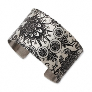 Stainless Steel Wildflower Brushed Cuff Bangle