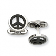 Stainless Steel Black plated Peace Symbol Cuff Links